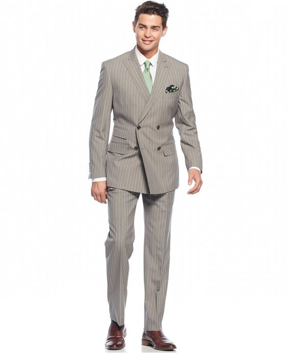 English Laundry Peak Lapel Slim-Fit Double Breasted Suit - Suits