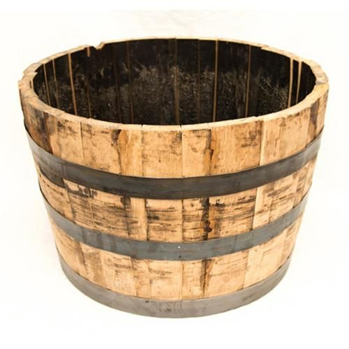 Real Wood Products 25 5 In W X 17 5 In H Rustic Weathered Oak Wood Barrel Lowes Com Whiskey Barrel Planter Barrel Planter Half Whiskey Barrels