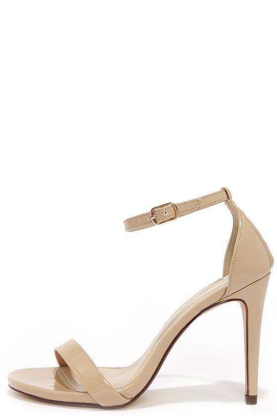 Beige Ankle Strap Heels
