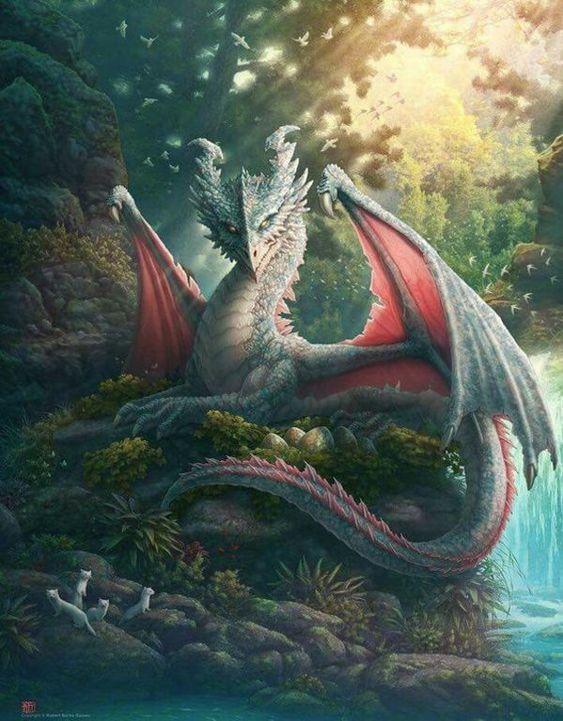 川とドラゴンの壁紙