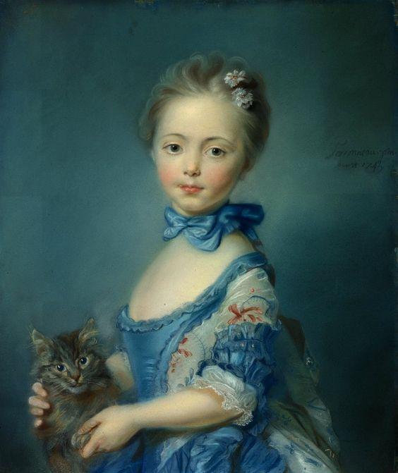 Jean-Baptiste Perronneau (c.1715-1783)  — A Girl with a Kitten, 1745 : The National Gallery,  London.  UK  (899×1070):
