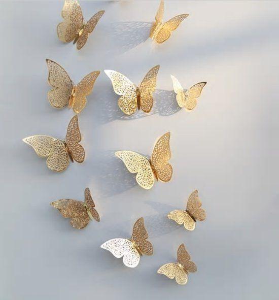 3d Gouden Vlinders Muurstickers Van Gouden Vlinders Unieke Decoratieve Muursticker Muurstickers Muurdecoratie Decoratieve Muren