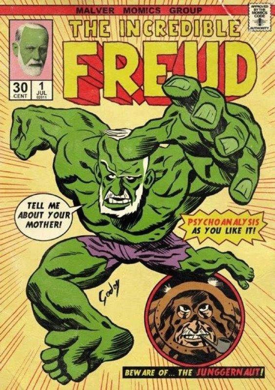 Uma das diversas faces de Freud, fundador e principal figura da teoria psicanalítica.