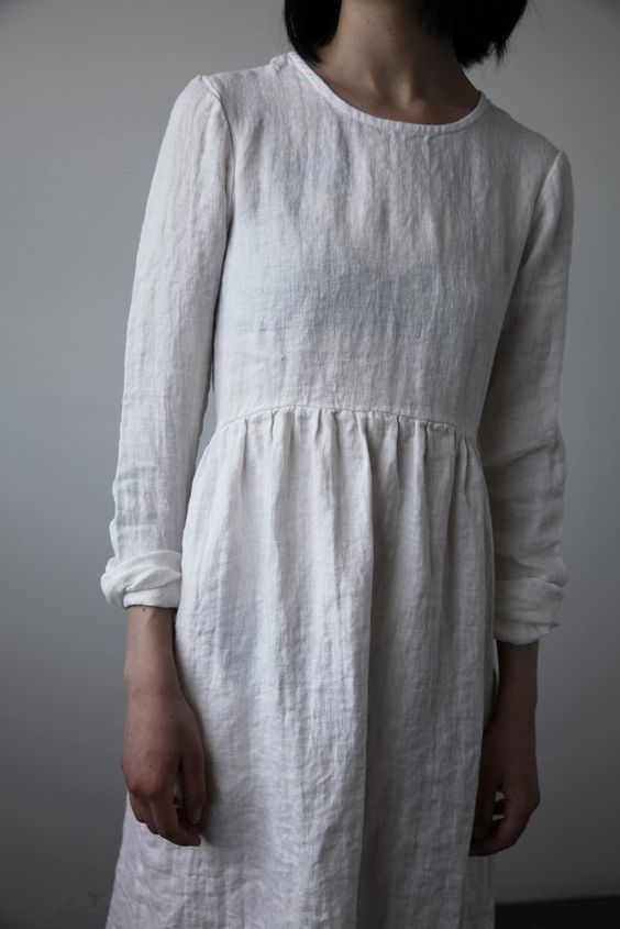Agnès Linen Dress - Soft White