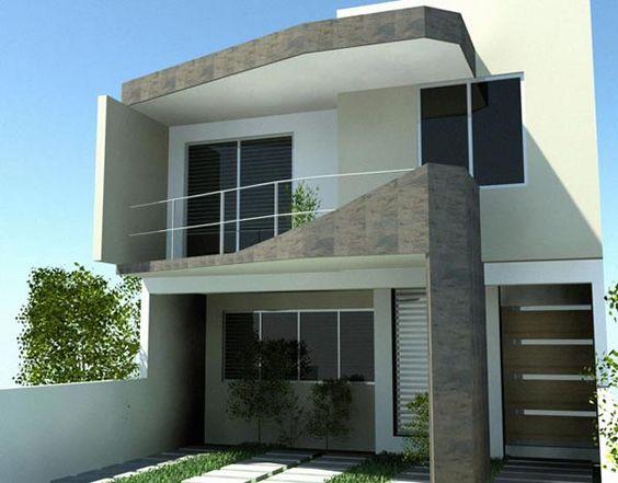 fachadas de casas de dos plantas pequeñas
