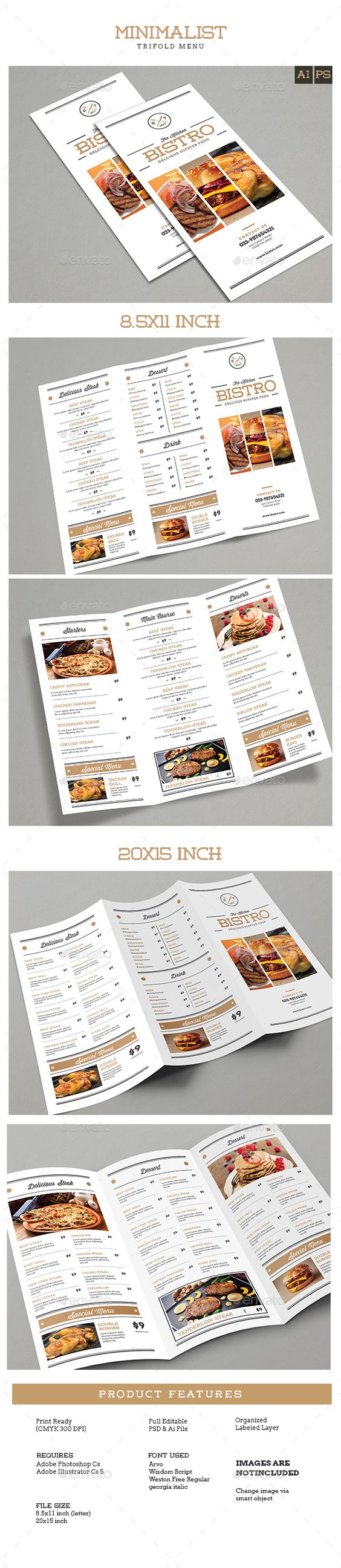 Texts menu template and food menu on pinterest for Menu brochure template