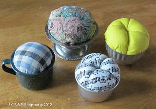 ~ S.C.R.A.P. ~ Scraps Creatively Reused and Recycled Art Projects: Pin Cushions ~ Using Kitchen and Art Utensils