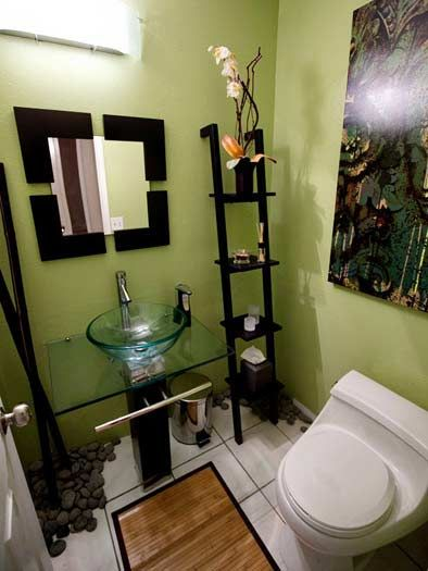 DIY Network offers some great small bathroom decorating ideas  In this bathroom  it  39 s the little details like the bamboo mat  river stones  and bea. DIY Network offers some great small bathroom decorating ideas  In