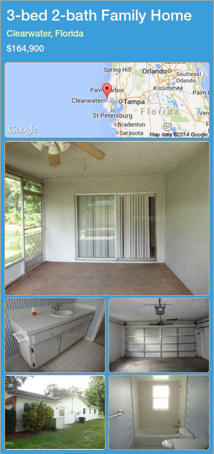 3-bed 2-bath Family Home in Clearwater, Florida ►$164,900 #PropertyForSaleFlorida http://florida-magic.com/properties/55158-family-home-for-sale-in-clearwater-florida-with-3-bedroom-2-bathroom