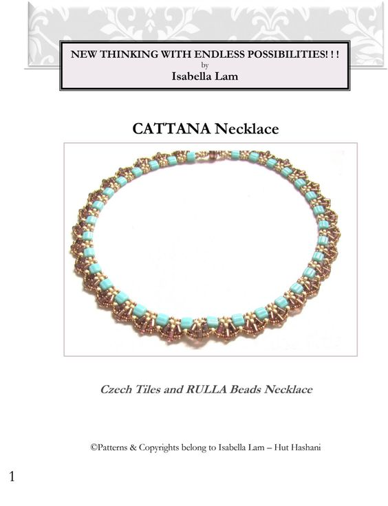 CATTANA Czech Tiles and RULA Beadwork Necklace tutorial by bead4me