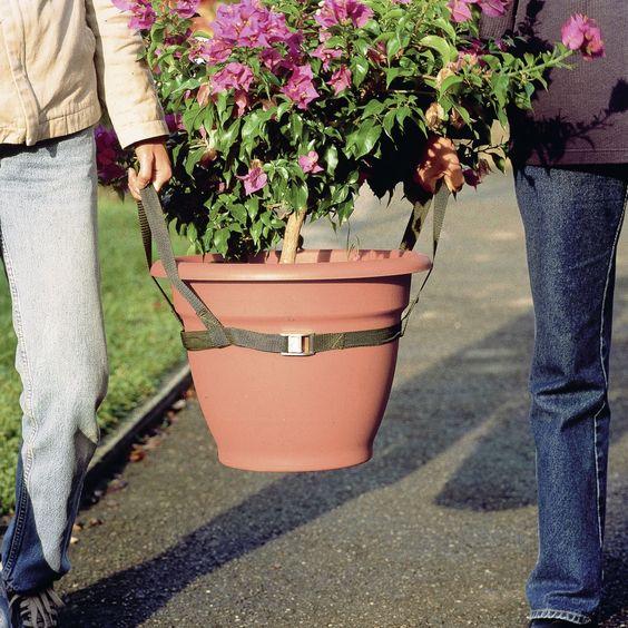Transporter les plantes devient un jeu d'enfant. Enfilez la sangle à fixation rapide autour du pot (diam. max. 60 cm). En nylon, résiste aux déchirures.