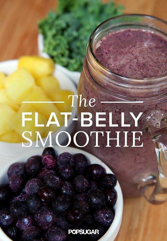 Heathy Drinks - Flat Belly Smoothie (kale, blueberries, pineapple).