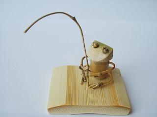 手作り竹細工~カエルの釣り