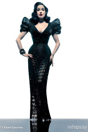"Dita Von Teese - ""...burlesque star modeled what is believed to be the world's first-ever 3-D printed dress at New York City's Ace Hotel on Monday night … and it required the latest technology to bring it to life.    Designer Michael Schmidt and architect Francis Bitoni made the entire gown virtually."""