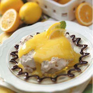 Chocolaty Lemon Meringue Cups Recipe -Homemade tart lemon curd balances the light meringue cups and rich chocolate ganache in these individual desserts. —Taste of Home Test Kitchen