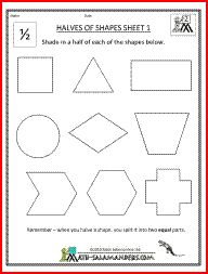 math worksheet : halves of shapes a fraction math worksheet involving shading half  : Fractions Of Shapes Worksheet