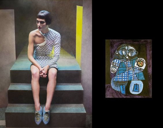 Picasso paintings as fashion by Eugenio Recuenco