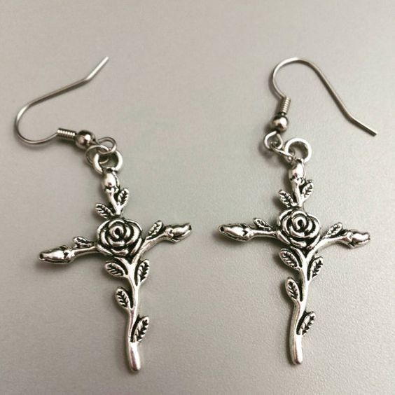 Check out this item in my Etsy shop https://www.etsy.com/listing/468726470/rose-cross-earrings-silver-cross