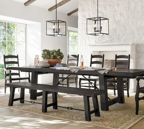 Benchwright Extending Dining Table Blackened Oak Extendable