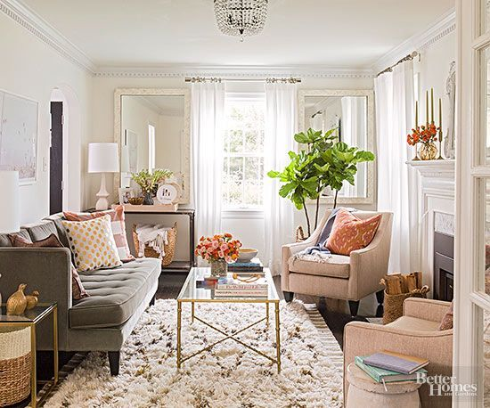 Small-Room Solutions: Living Rooms | Wall trim, Sheer curtains and Ceiling