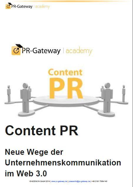 Erfahren Sie in diesem Praxisleitfaden, wie Ihnen mit der #ContentPR eine zielgruppenorientierte Unternehmenskommunikation gelingt, wie Sie relevante, nützliche und unterhaltsame Inhalte entwickeln, welche Online-Medien Ihnen zur Präsentation Ihrer Inhalte zur Verfügung stehen und auf welchen Kommunikationskanälen Sie Ihre Unternehmensinformationen selbst veröffentlichen können. http://www.pr-gateway.de/white-papers/praxisleitfaden-content-pr #PR