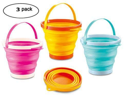 Top Race Foldable Pail Bucket Silicone Collapsible Buckets Multi Purpose 2 Liter Half Gallon Pack Of 3 1 2 Gallon All4hiking Com Pail Bucket Beach Toys Collapsible Bucket