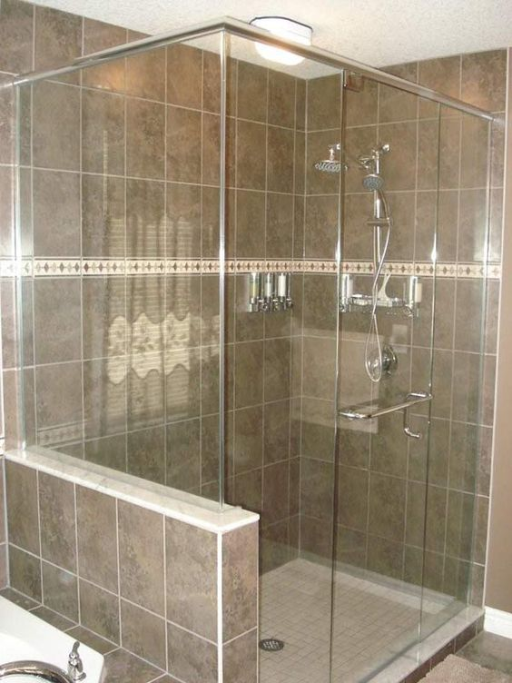 glass shower with half wall house shower stuff pinterest nice colors and london. Black Bedroom Furniture Sets. Home Design Ideas