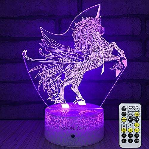 Kids Night Lights Bedside Lamp 7 Colors Change Remote Control Timer 3d Night Light Kids Optical Illusion Lamps Kids In 2020 Night Light Kids 3d Night Light Kids Lamps