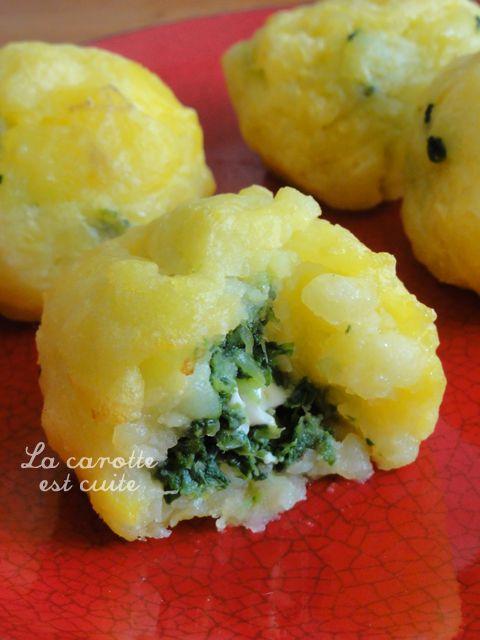 Boulette de pomme de terre farcie épinard & fromage   La carotte est cuite