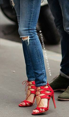 Strappy red lace-up heels. | Sweet Kicks | Pinterest | Awesome