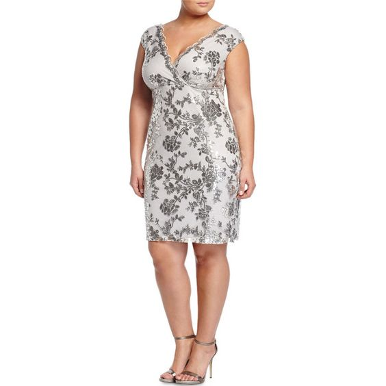 Marina Plus V-Neck Floral Sequin Dress ($80) ❤ liked on Polyvore featuring plus size women's fashion, plus size clothing, plus size dresses, sil, v neck cocktail dress, white sequin cocktail dress, sequin dresses, white sheath dress and v neck sequin dress