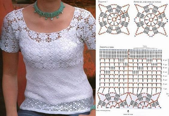 andrea croche: blusa branca de croche com gráfico