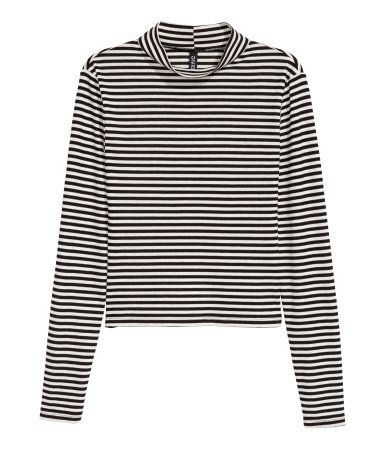 Ribbed top | Black/White striped | Ladies | H&M AU: