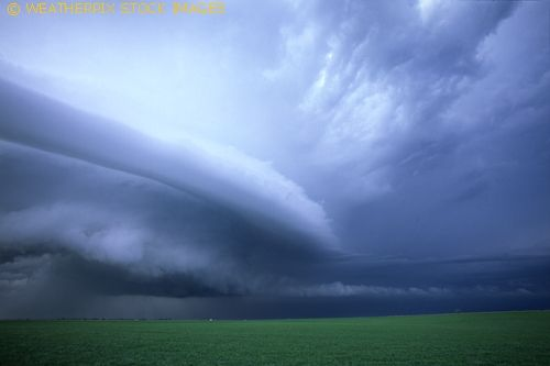A supercell thunderstorm approaches lush farmland west of El Reno Oklahoma in early March. Such storms can produce flash flood rainfall, large hail and occasionally tornadoes.