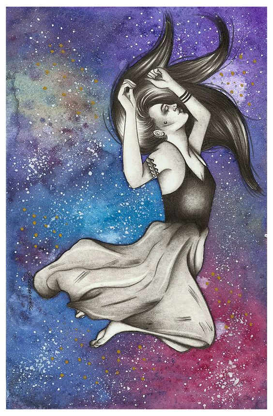 Lidiane Dutra | Ilustração: #ilustraday maio: galáxia #illustration #watercolor #painting #art #galaxy #nebula #space
