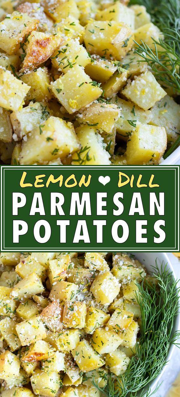 Roasted Parmesan Yukon Gold Potatoes with Lemon & Dill