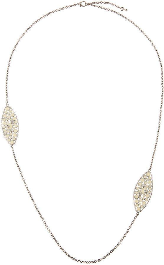 Roberto Coin Bollicine 18k White Gold Long Enameled 2-Station Necklace w/ & Diamonds 2SjPb