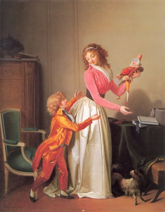 The joy of motherhood, 1796. This painting was posted in a Livejournal community as being by Van Gorp, but I think there's a possibility it might actually be by Boilly or at least be a copy of his work.: