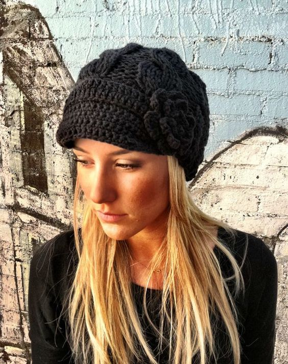 Beanie Hat With Bill Crochet Pattern : Crochet hat. Love beanie hats with bills My Style ...