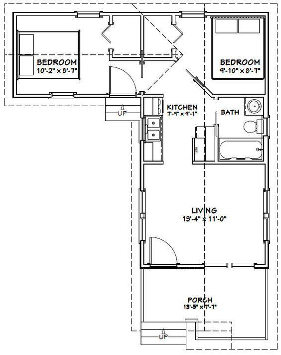 14x28 Tiny House -- #14X28H1F -- 521 sq ft - Excellent Floor Plans ... - tiny house blueprints