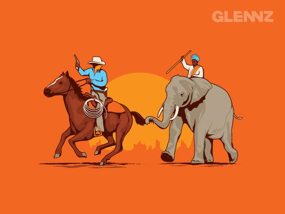 Above: Cowboys and Indians. Excellent Illustration from Glennz #comedy