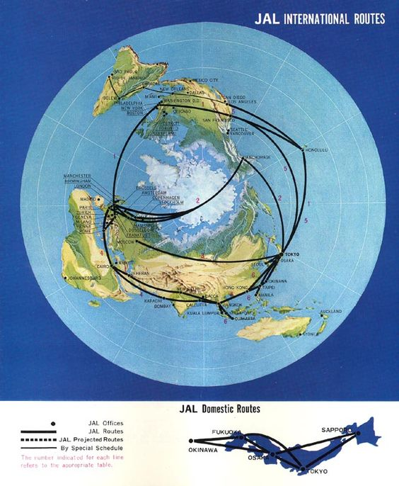 Japan Air Lines JAL route map 1968 polar projection map map – Map My Travel Route