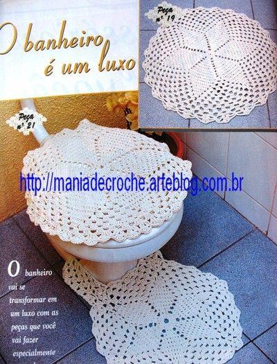 Blog de maniadecroche :MANIA DE CROCHÊ, JOGO DE TAPETES PARA BANHEIRO #crochet