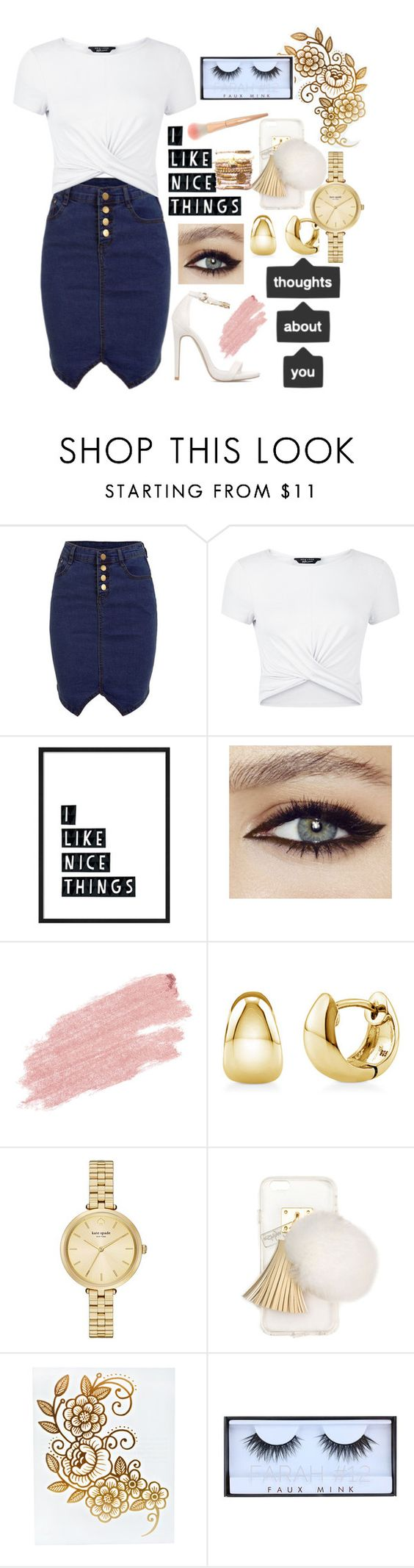 """""""Outfit136"""" by rbanks643 ❤ liked on Polyvore featuring New Look, Jane Iredale, BERRICLE, Kate Spade, Ashlyn'd and Huda Beauty"""