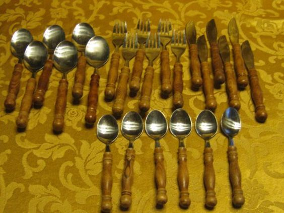 Silverware with wooden handles
