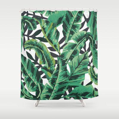 Tropical Glam Banana Leaf Print Shower Curtain   Leaf prints ...