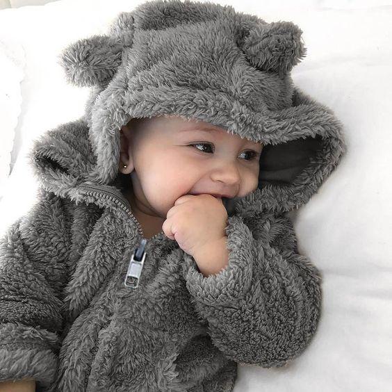 - Fuzzy Bear Jacket - Easy Zipper Closure - Keeps little ones extra toasty - Soft, cozy cotton blend - Cute + Trendy