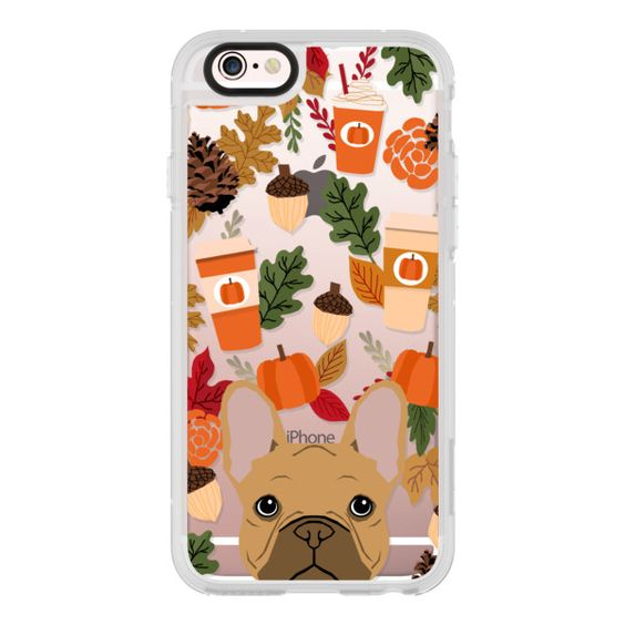 French bulldog tan coat fall leaves autumn colors pumpkin spice latte... ($40) ❤ liked on Polyvore featuring iphone case