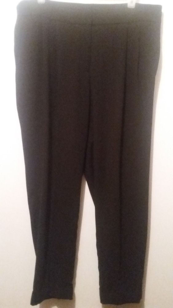 Ann Taylor Loft Pants Julie Ankle Black Size 12 #AnnTaylorLOFT #CaprisCropped