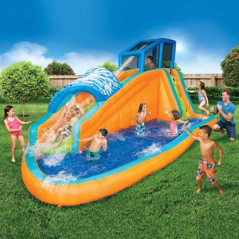 Banzai Kids Inflatable Outdoor Surf Rider Aqua Lagoon Water Park Slide And Pool Target Inflatable Water Slide Water Slides Backyard Water Slides